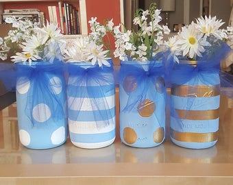 Baby Shower Mason Jars, Baby Boy Mason Jars, Boy Mason Jars, Blue and White Mason Jars, Blue and Gold Mason Jars, Baby Shower Centerpieces