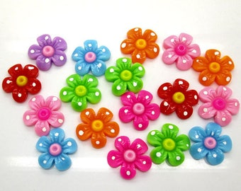 6 x flower mix 21x21mm embellishment flower cabochons