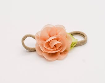 Peach baby flower headband, flower baby headband, baby bow headband, nylon headband, baby headbands, baby girl headband, peach