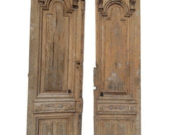 Pair of Antique European Architectural Doors Large French Exterior Doors Farmhouse French Country Doors Mediterranean Carved Doors