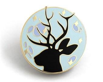 Stocking Stuffer, Jackalope Enamel Pin, Hard Enamel Pin, Gift for Her, Gift for Him, Christmas Gift, Lapel Pin, Jackalope Moon, Moon Jewelry
