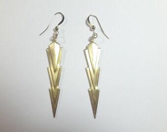 """Earrings """"Lightning"""" gold plated 14 k"""