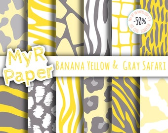 "Animal Digital Paper: ""Banana Yellow &  Gray Safari"" pattern - jungle, zoo, animals, giraffe, leopard, zebra, tiger, cow. Digital scrapbook"