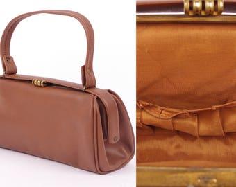 Vtg 1940/50s Chocolate Brown Vintage Purse Handbag Vintage