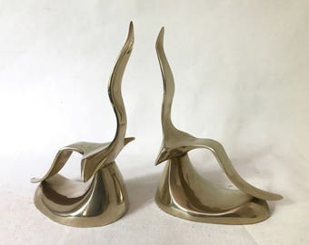 Pair Vintage Brass Mid Century Sculptural Flying Seagull Bookends