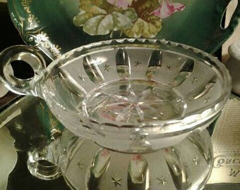 Hawkes Crystal Nappy, Heavy Cut Glass Bowl