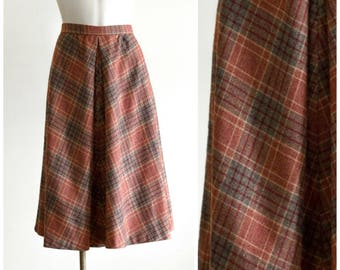 1970s burnt orange plaid a-line skirt