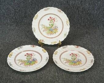 Spode Rosalie Pattern Salad Plates Set Of 3 C. 1960'S