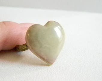 Tan/Gray Agate Heart Shaped Stone Ring - Size 7 1/2