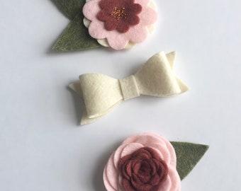 Felt Flower/Bow Set/Baby Bows/Baby Floral Headband/Mauve/Pink/Ivory