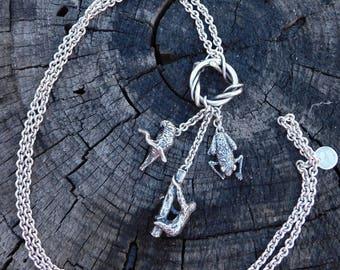 Susan Cummings rainforest wildlife charm necklace, sterling silver, dimensional rainforest animal charms rare heavy wonderful.