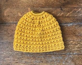 Mustard Yellow Messy Bun Beanie. Messy Bun Beanie Hat.  Women's Bun Hat. Ponytail Hat. Ponytail Beanie. Women's Bun Beanie. Ready to Ship.