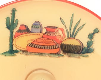Vintage Glass Southwestern Bowl,  Hand Painted, Soft Yellow, Orange, Cactus, Baskets, Urn, Serving Dish