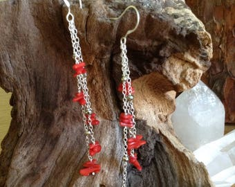 Coral multi chain long earrings/ Summer Jewellery/Talisman/ Gift for Her