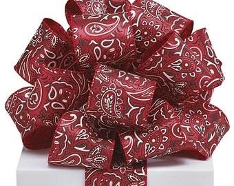 """New 5 yards Wired Bandanna Ribbon~ Bandanna Bow 2-1/2"""" ~ Cowboy Ribbon ~ Western Ribbon ~ Ribbon For Wreaths ~ 5 Yards"""