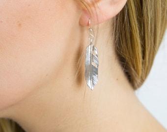 Gold Feather Earrings-Silver Feather Earrings-Everyday Earrings-Dangle Earrings-Boho Earrings-Chic Earrings-Trendy Earrings-Feather Earrings