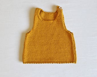 Hand-knit baby top - yellow