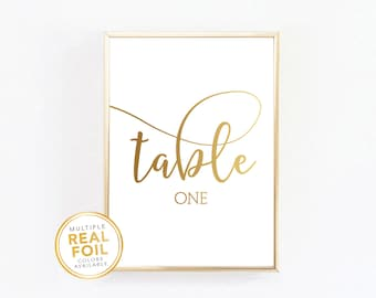 Gold Foil Table Numbers - Wedding, Anniversary, Baptism, Bridal Shower, Quinceanera, Real Gold Foil Silver Rose Gold - 001