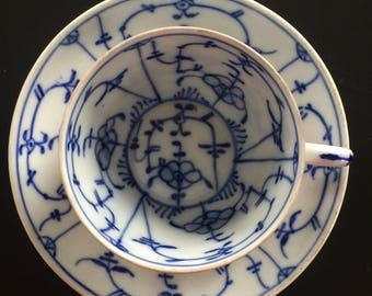 Antique Bavarian blue and white coffee cup and saucer by Tettau