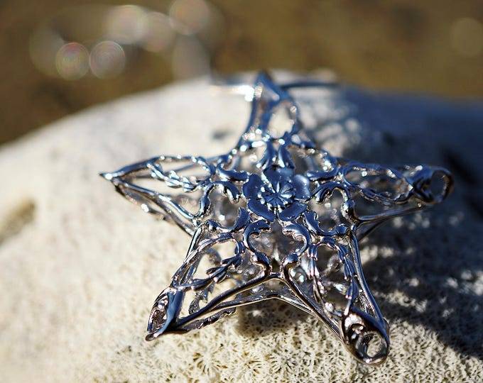 Silver Starfish Necklace, Art Nouveau silver jewellery, sterling silver star necklace, 3D printed jewelry