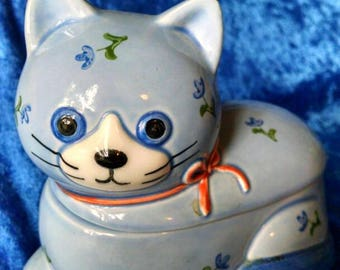 Adorable Blue Kitty Cat, Floral Japan, Jam Jar, Small Accessories Holder