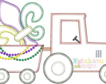 Mardi Gras Tractor Applique Design- Blanket