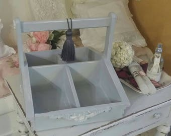 Picks up covered in a shabby chic style cloud gray