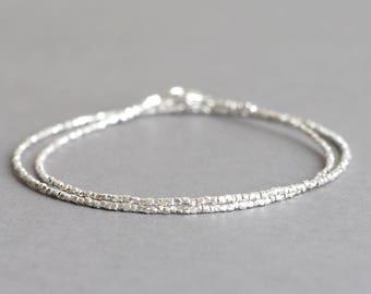 Silver Bracelet Silver Double Wrap Silver Bracelet Hill Tribe Silver Stackable Bracelet Gift for Her