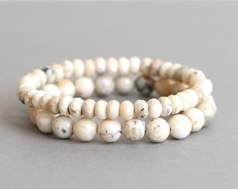 White Opal Bracelet Stretch Bracelet Bracelet Stack Gift for Her African White Opal Bracelets Beaded Bracelets