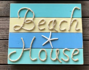 Handmade Beach House with Rope Beach Pallet Art Rope Art Coastal Decor Nautical Decor