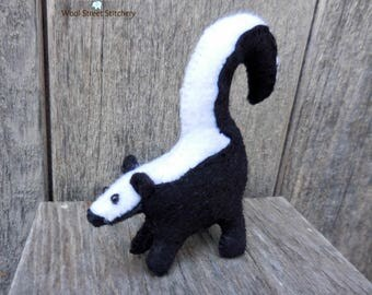 Small handmade skunk, felt stuffed skunk, woodland animal, holiday gift animal, soft toy, felt stuffed animal