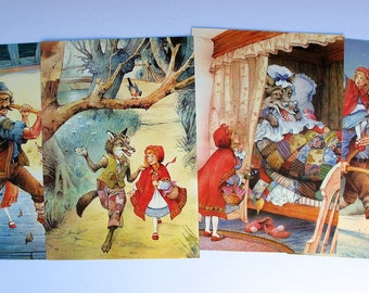 vintage Little Red Riding Hood prints