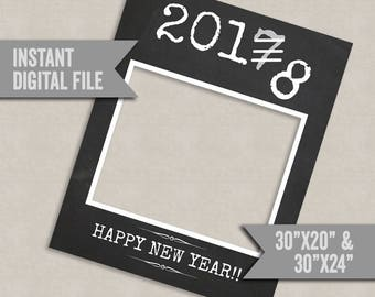 New Years Printable 2018 Chalkboard Photo Booth Frame digital download, 30x24, 2018 new year selfie, diy photobooth new years celebration