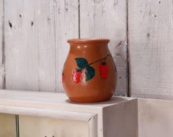 Clay pot, Decorative clay pot, Small clay pot, Handmade clay pot, Primitive rustic pot, Vintage clay pot, Pottery jug, Traditional ceramic