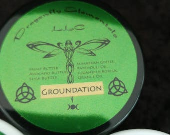 Groundation made with natural plant butters, essential oils and shade grown organic coffee