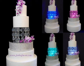 Classy Acrylic Crystal Cake Stand With LED Light and Teardrop Hanging Pendants for Wedding, Baby Shower, Reveal Party, Anniversary, Birthday