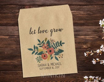 Wedding Seed Packet, Wedding Favor, Garden Wedding, Custom Seed Packet, Rustic Wedding, Seed Envelope, Seed Packet, Floral Wedding x 25