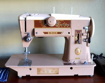 Vintage Singer Sewing Machine, 1958 Singer 401A Slant-O-Matic, Cleaned, Oiled and Tested, Gorgeous!