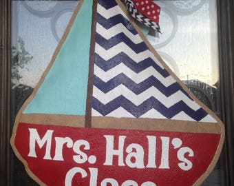 Hand-Painted Burlap Sailboat Door Hanger