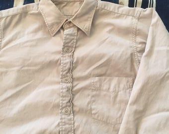 Vintage 1940s-50s US Military Khaki Poplin Shirt Mens Size S/M
