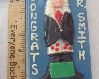 Chocolate Lawyer Wearing Legal Hearts Briefs plaque