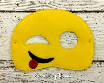 Silly Emoji Childrens Felt Mask  - Costume - Theater - Dress Up - Halloween - Face Mask - Pretend Play - Party Favor