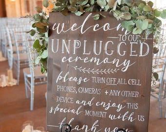 Unplugged Wedding Ceremony Sign | Custom Color Options Available