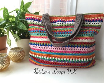 Stripe crochet bag pattern,tote bag pattern,crochet bag pattern,multicolour crochet beach bag pattern,stripe bag pattern,PDF PATTERN