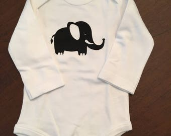Elephant Organic Cotton Baby Clothes Custom Screen Printed Onesie 3-6mo