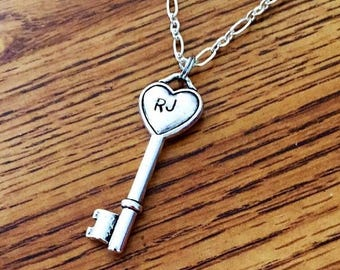 ON SALE Personalized Heart Key Charm Engraved with Initials. Your Choice of Necklace or Keychain.