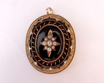 Antique solid gold 14k and gold 18k ,natural pearls , enamel , Pendant