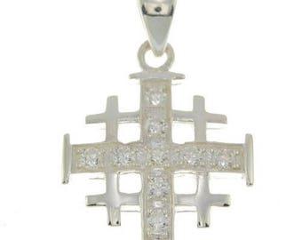 Jerusalem Cross Pendant 925 Sterling Silver And  White Gemstones