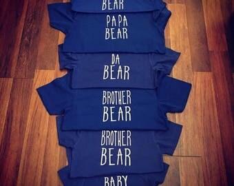 Mama bear tshirt|papa bear tshirt|family bear Tshirts|bear hats