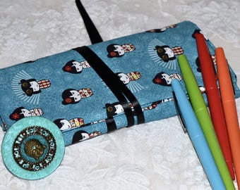 Lovely Japanese dolls turquoise print cotton pencil case